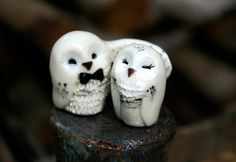 Wedding Cake Topper Snowy Owls Miniature Hedwig by calicoowls