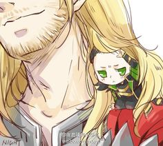 Chibi!Loki in Thor's hair