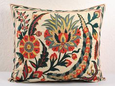 Vintage Suzani pillow cover - throw pillow - Decorative suzani Pillow cover - hand embroidered pillow covers MSP114-2 Handmade Handbags, Eclectic Decor, Home Textile, Hand Embroidery, Decorative Pillows, Pillow Covers, Cushions, Throw Pillows, Central Asia