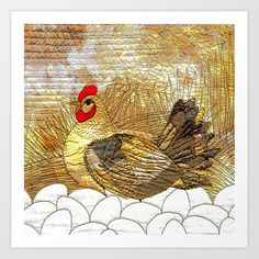Golden hen Art Print by bozenawojtaszek Hen House, From The Ground Up, Buy Frames, Printing Process, Rooster, Gallery Wall, Art Prints, Artist, Stuff To Buy