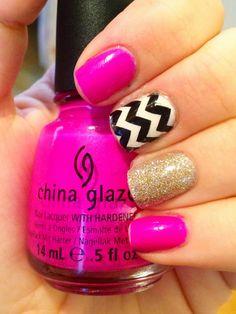 Pink Chevron Glitter Nails :) #nailart