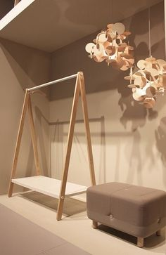 TOJ Clothes rack, Sumo Pouf And Bau Lamp @ Salone Del Mobile Milano 2012 by Normann Copenhagen // I love this clothing rack Wardrobe Furniture, Diy Furniture, Furniture Design, Furniture Plans, System Furniture, Furniture Chairs, Garden Furniture, Bedroom Furniture, Modern Furniture