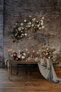 We're Loving the Cozy Romantic Vibes in This Toronto Elopement Inspiration at 99 Sudbury Bridal Table, Wedding Table, Wedding Ideas, Wedding Couples, Wedding Reception, Floral Wedding, Wedding Flowers, Loft Wedding, Farm Wedding
