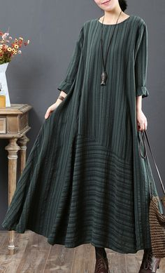 vintage green pure linen dresses Loose fitting linen clothing dresses o neck big hem vintage patchwork autumn dress Muslim Dress, Hijab Dress, Hijab Outfit, Dress Outfits, Casual Dresses, Muslim Fashion, Hijab Fashion, Fashion Dresses, Maxi Robes