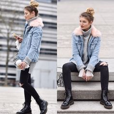 Franziska Elea - New Look Denim Jacket, Edited Sweater, Stradivarius Jeans, Dr.Martens Boots, Zara Bag - Denim & Dr. Martens