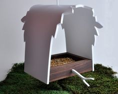 Modern Birdfeeder 'Canopy' series - Contemporary hanging backyard feeder, tree leaves silhouette, walnut and white