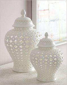 Two's Company Carthage Pierced Covered Lantern: Two's Company Carthage Pierced Covered Lantern.  A mediterranean appeal that brings that memory home to you. These white lace porcelain covered lanterns are available in two sizes, 5