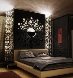 Majestic looking headboard. The simple wooden headboard is attached to the majestic matte black design with several mirrors attached to it and it simply looks astounding.