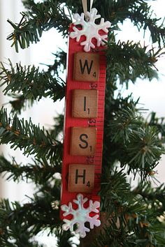 DIY Christmas Ornaments - Recycled Yard Stick and Scrabble Tiles