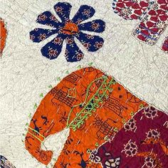 Elephant Applique Bedspread - Hand Stitched - Queen King Linen Sheets, Linen Bedding, Elephant Applique, Embroidered Quilts, Kantha Stitch, Elephant Design, Kantha Quilt, Queen Size Bedding, Quilt Cover