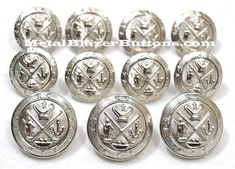 New Silver Finished GOLF KING'S CREST Heraldic Coat of Arms 11-Piece Metal Sport Coat Blazer Button Set by metalblazerbuttons. Explore more products on http://metalblazerbuttons.etsy.com