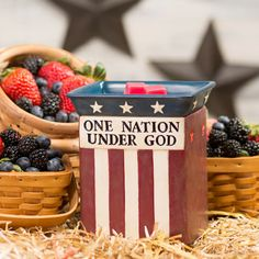 2014 June Scentsy Warmer of the Month - One Nation. Put your patriotism on display with this handpainted tribute to the start and stripes. Perfect for Fourth of July decorating!    https://sweetscentsbypbj.scentsy.us/Buy/ProductDetails/28803