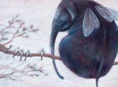 Elephant ILLUSTRATION print FLYING ELEPHANT. Home decor