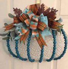 Dollar Tree Pumpkins, Dollar Tree Crafts, Pumpkin Arrangements, Arts And Crafts, Diy Crafts, Pumpkin Wreath, Wreaths For Front Door, Door Wreaths, Pumpkin Decorating