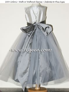 Platinum and Medium Gray Silk Tulle Flower Girl Dresses by PEGEEN