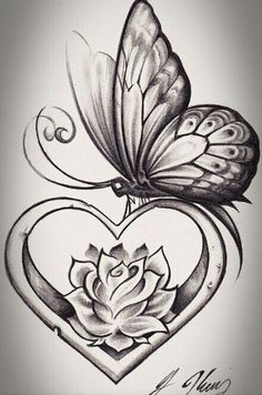 heart shape butterfly tattoo design tattoos tattoos, butterfly - rose and butterfly drawing Rose And Butterfly Tattoo, Butterfly Drawing, Butterfly Tattoo Designs, Tattoo Flowers, Butterfly Wings, Rose Heart Tattoo, Feather Drawing, Simple Butterfly, Flower Drawings