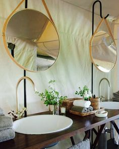 Hanging mirrors are an easy way to add to your outdoor bathroom!