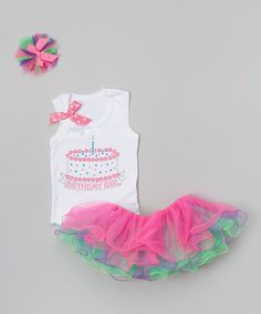 Another great find on #zulily! White & Pink One-Candle Cake Tutu Set - Infant & Toddler #zulilyfinds