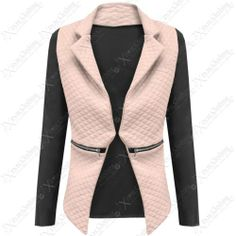 NEW LADIES QUILTED PU BLAZER WOMEN LONG SLEEVE ZIP WATERFALL PVC LOOK JACKET TOP   eBay #fashion #style #clothing #shopping