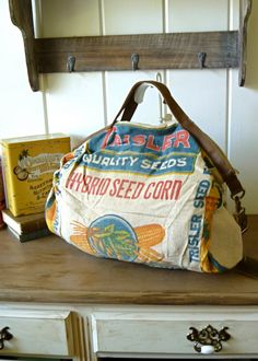 upcycled feed bag. It may not give back to society, but at least it's been recycled into something pretty awesome!
