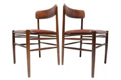 Pair of Rosewood & Leather chairs Mid-century Modern, Contemporary, Leather Chairs, Fine Dining, Bar Stools, Dining Chairs, Mid Century, Table, Furniture