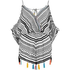 River Island Black jacquard cold shoulder beach romper ($64) ❤ liked on Polyvore featuring swimwear, cover-ups, black, kaftans & cover-ups, swimwear / beachwear, women, beach wear, v neck cami, beach cover ups and caftan cover ups
