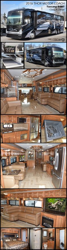 2016 Thor Motor Coach Tuscany 44MT Class A diesel pusher. This luxury motorhome has 3 slides, including a full wall slide, a bath & ½, stackable washer/dryer and a fireplace to name just a few of the features in this beautiful RV.