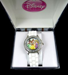 Disney Watch Princess Belle Tiana Rapunzel Rhinestones White Band