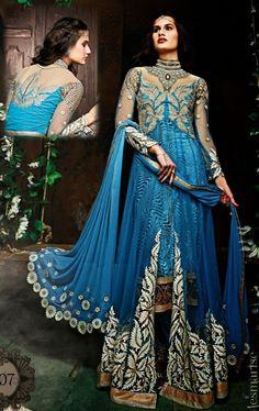 Picture of Captivating Azure Blue Color Stylish Anarkali Suit