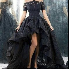 Vintage Black High Low Lace Prom Party Homecoming Dress Evening Celebrity Gown