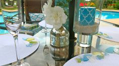 A beach themed poolparty. #placesetting #DIY #partiesandevents #poolparty #tabletopdecor.
