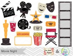 Instant Download Digital Movie Clip Art, Movie Clipart, Movie Night Clip Art, Oscar Awards Party, Hollywood party, Cinema Birthday 00163