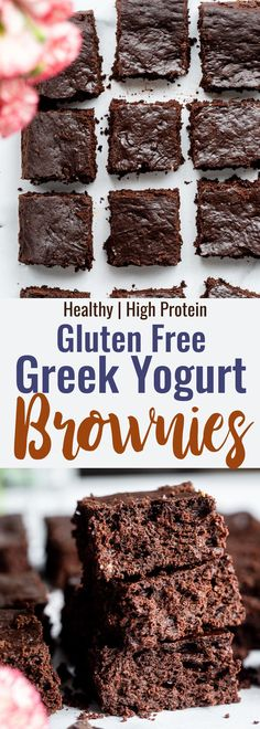 Healthy Greek Yogurt Brownies - These Healthy Greek Yogurt Brownies so dense and chewy and secretly packed with protein and naturally gluten free! A delicious, better for you treat! #BakingPowderForCleaning Healthy Brownies, Gluten Free Brownies, Gluten Free Treats, Gluten Free Baking, Gluten Free Desserts, Protein Brownies, Gluten Free Yogurt Recipes, Healthy Gluten Free Snacks, Clean Eating Brownies