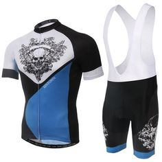 Men's Blue Skull Short Sleeve Jersey Set #Cycling #CyclingGear #CyclingJersey #CyclingJerseySet