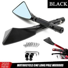 SurePromise 10mm Pair Black Motorcycle Motorbike Scooter Mirrors Rearview Side Mirror with E-mark