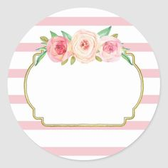 Shop Rose Stripes Pink Floral Baby Shower Favor Tags created by DreamingMindCards. Etiquette Vintage, Baby Shower Favors, Baby Shower Labels, Baby Favors, Shower Gifts, Graduation Decorations, Floral Baby Shower, Floral Border, Flower Backgrounds