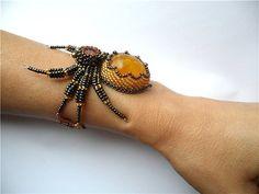 Ohhh......nice beaded spider! Beaded Bracelet Amber Spider by byKatushka on Etsy, $79.99