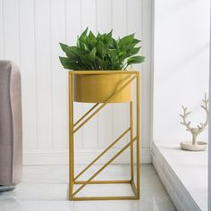 Add a pop of color to your home, office, or restaurant with the bright and colorful Lev angular indoor planter! Made from premium metal. Measures approximately x Free Worldwide Shipping & Money-Back Guarantee Modern Planters, Indoor Planters, Plants Indoor, Metal Planters, Gold Planter, Metal Plant Stand, Trendy Home Decor, Outdoor Garden Furniture, Bunt
