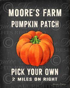 Pumpkin Patch / Chalkboard Print / Autumn / by MasterpieceDesigns