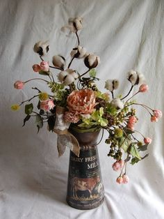 Silk Floral decor,French Farmhouse,Shabby Chic //peach, pink, green, brown,cream//Silk Floral table arrangement by LavenderBlueFloral on Etsy