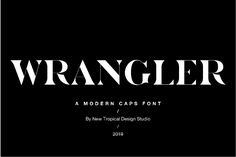 Create modern, gorgeous headlines and elegant designs with this unique font. Wrangler is a bold yet elegant, sans serif caps font. Branding Design, Logo Design, Graphic Design, Sans Serif, Serif Font, Otf Font, Word Mark Logo, Newspaper Design, Tropical Design