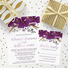 This purple and gold wedding invitation and rsvp card are so stylish and modern. The Spotted Olive created this design with gold splashes on the purple watercolor flowers that really make it a show-stopper! Find it here: http://lemonleafprints.com/wedding-invitations-pretty-watercolor-violet-flowers.html