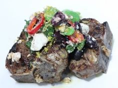 Grilled T-bone Lamb Chops with Fava Bean and Feta Salad from CookingChannelTV.com