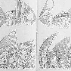1 - Hand-drawn, nice sense of perspective + character design. Saul Steinberg @ YU by Willbryantplz, via Flickr