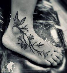 Fresh from the Web Fun foot piece.  #thanksforlooking #jonathanescoart #butterfly #butterflytattoo #butterflys #branch #branches #flowers #flower #tattoos #tattoo #black #blacktattoos #blackwork...