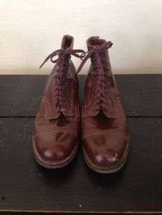 Mens Vintage Brown Boots Shoes. Captoe Victorian Edwardian Dickens