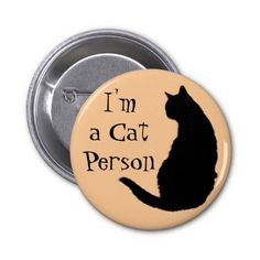 Cat Person Pinback Buttons