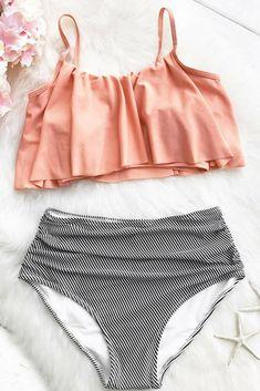 4979c017708 Love this bathing suit!! | Cupshe Seaside Gale Falbala High-waisted Bikini  Set