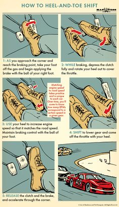 The fancy footwork of heel-toe shifting does have a lot of benefits. It reduces stress on the transmission, keeps the weight of your vehicle balanced during gear changes, helps to prevent wheel lock…More Vw T3 Camper, Vw Touran, Tuner Cars, Jdm Cars, Mécanicien Automobile, Car Facts, Art Of Manliness, Learning To Drive, Driving Tips