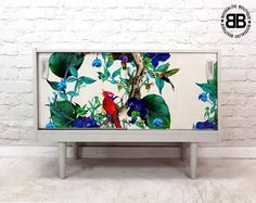 Stunning Professionally Upcycled MidCentury Sideboard TV Unit Tropical Birds  | eBay